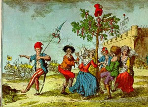 Sans Culottes dancing around a Liberty Tree