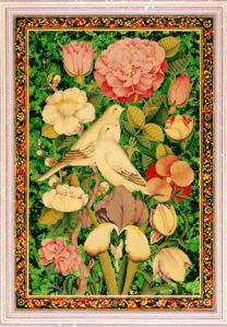 """Love Birds on Green Tinted Gold"", Rana Farhan"