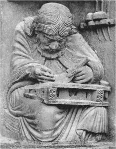 Pythagoras. Bas relief from the Chartres Cathedral.