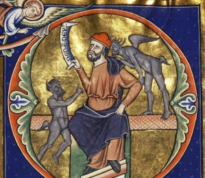 Initial D: The Fool with Two Demons (detail) in a psalter, illuminations by the Master of the Ingeborg Psalter, after 1205. Tempera colors, gold leaf, and ink on parchment bound between pasteboard covered with brown calf, each leaf 12 3/16 x 8 5/8 in. The J. Paul Getty Museum, Ms. 66, fol. 56 -