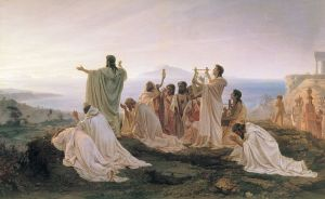 'Pythagoreans celebrate sunrise', painting by Fyodor Bronnikov (1827–1902)