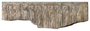 Fragment of a Hellenistic relief (1st century BC – 1st century AD) depicting the Twelve Olympians carrying their attributes in procession; from left to right, Hestia (scepter), Hermes (winged cap and staff), Aphrodite (veiled), Ares (helmet and spear), Demeter (scepter and wheat sheaf), Hephaestus (staff), Hera (scepter), Poseidon (trident), Athena (owl and helmet), Zeus (thunderbolt and staff), Artemis (bow and quiver), Apollo (lyre), from the Walters Art Museum.