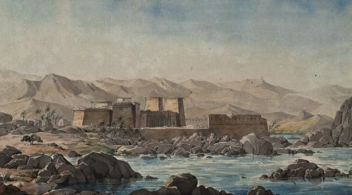 'Island of Philae'. Aquarelle by Franz Christian Gau-1819