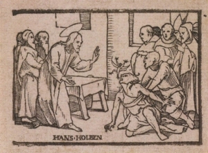 'Casting out of an evil spirit'', engraving by Hans Holbein