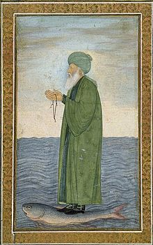 17th-century Mughal painting of al Khidr