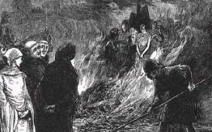 The inquisition burning at the stake Cathars during the crusade against the Albingensian.