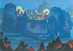 'Queen of Heaven on the river of life', by Nicolas Roerich.