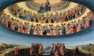 """Francesco Botticini, """"Assumption of the Virgin"""" shows the three 'choirs' of angels and their subdivision / Francesco Botticini, """"Assumption of the Virgin"""" üç melekler korosunu ve bunların içindeki dağılımı gösterir"""
