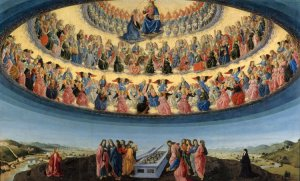 "Francesco Botticini, ""Assumption of the Virgin"" shows the three 'choirs' of angels and their subdivision / Francesco Botticini, ""Assumption of the Virgin"" üç melekler korosunu ve bunların içindeki dağılımı gösterir"
