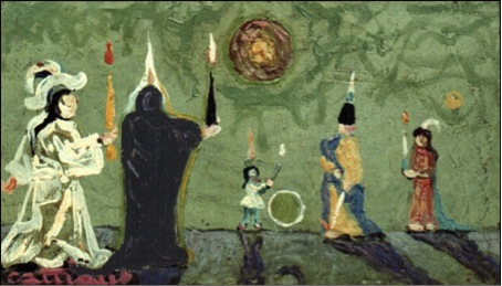 Painting by Louis Cattiaux-'Confrontation of the lights'- Another version