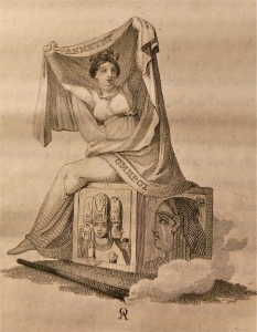 Ceres siting on a cube displaying the Indian trinity on one side and and the head of Isis on another; From Ouvaroff's Essay on the Elusinian Mysteries', London-1817
